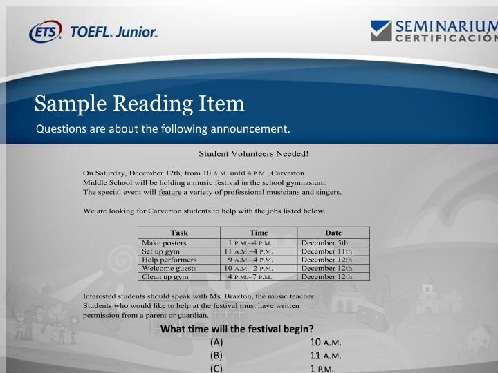 Sample Reading Item