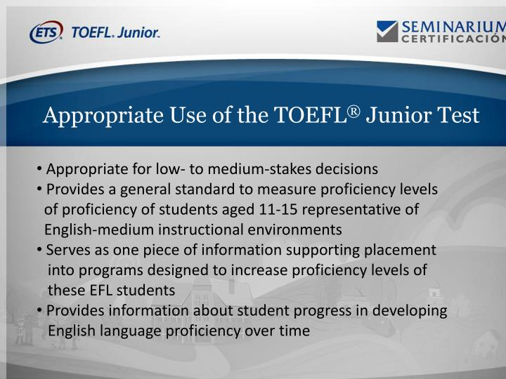 Appropriate Use of the TOEFL