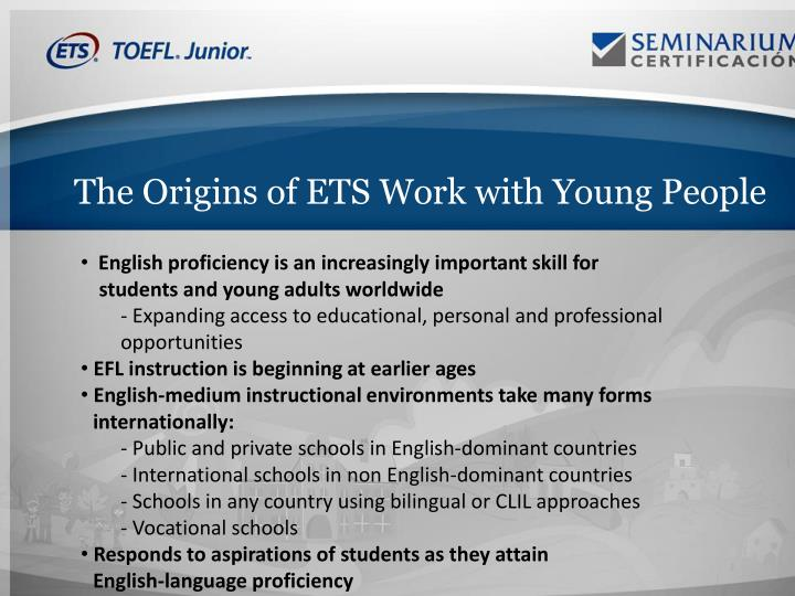 The Origins of ETS Work with Young People