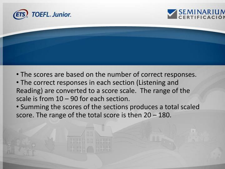 The scores are based on the number of correct responses.
