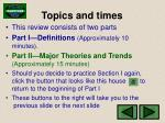 topics and times