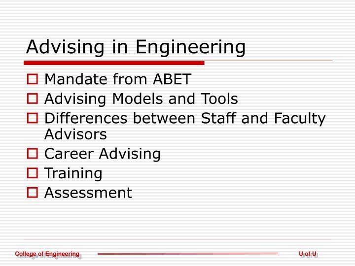 Advising in engineering