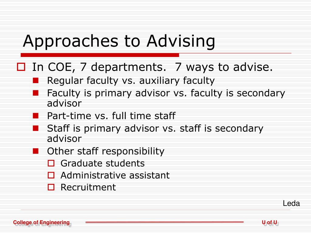 Approaches to Advising