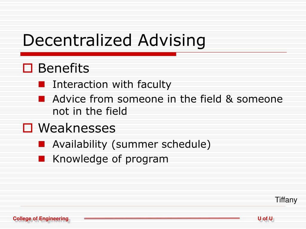 Decentralized Advising