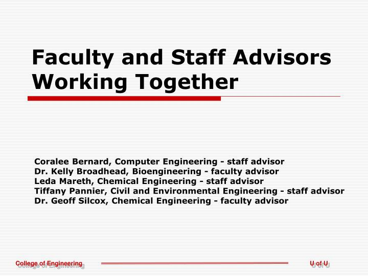 Faculty and staff advisors working together