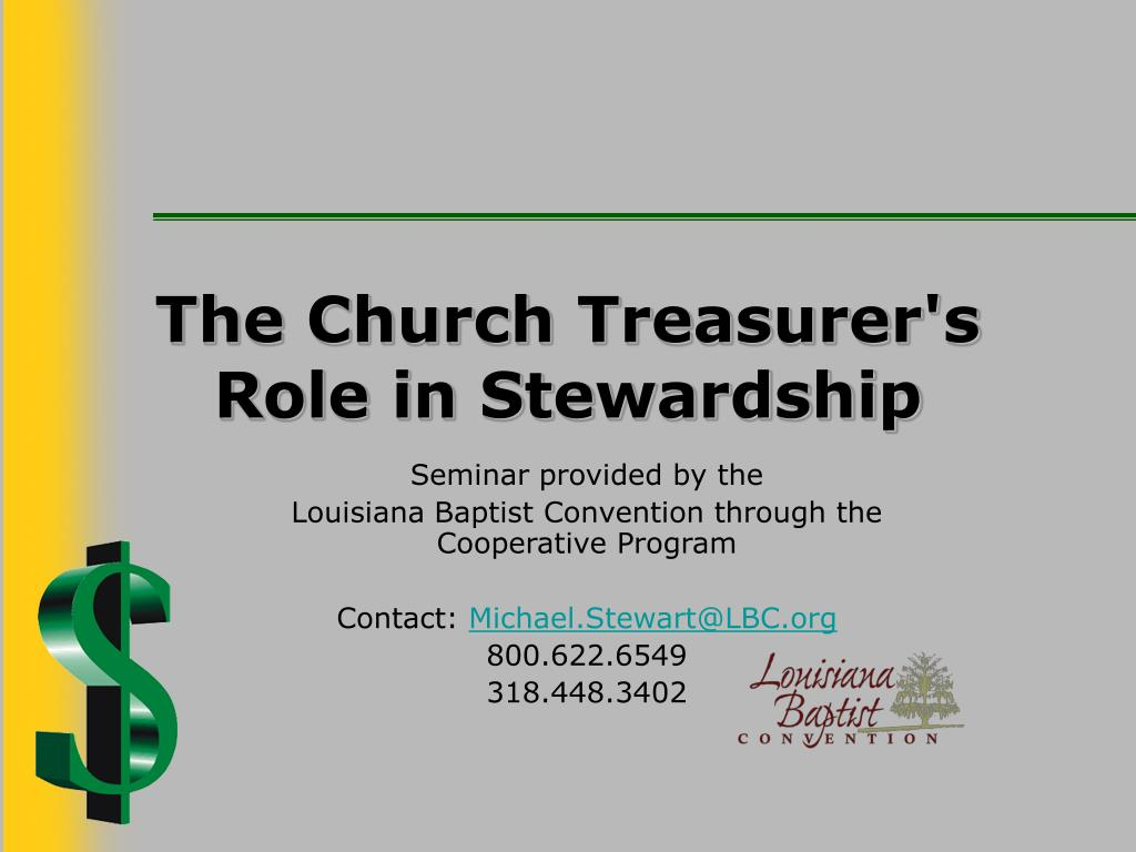 the church treasurer s role in stewardship l.