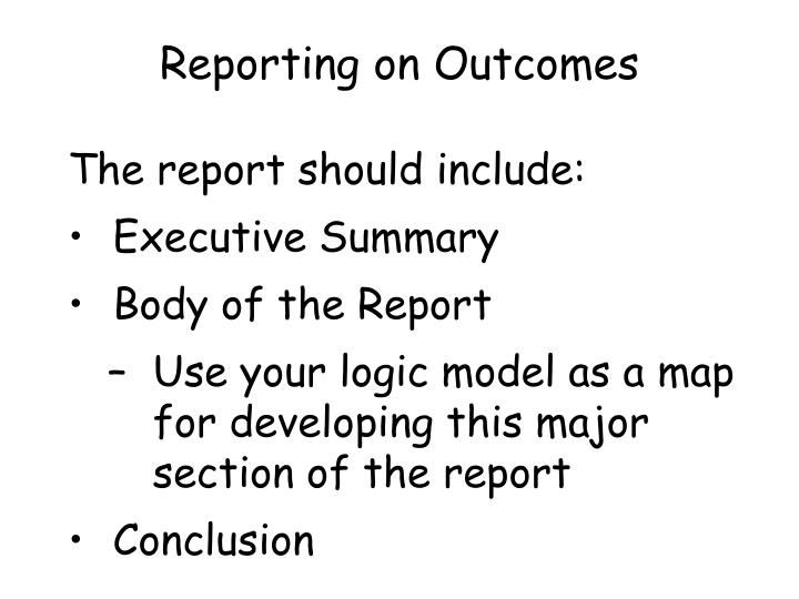 Reporting on Outcomes