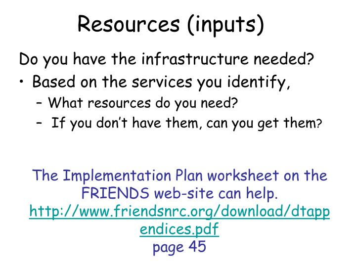 Resources (inputs)