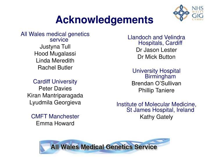 All Wales medical genetics service
