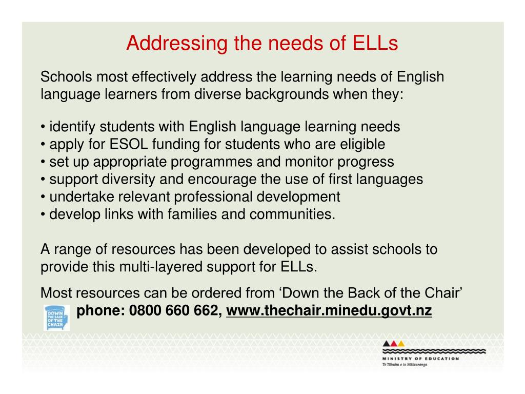 Addressing the needs of ELLs