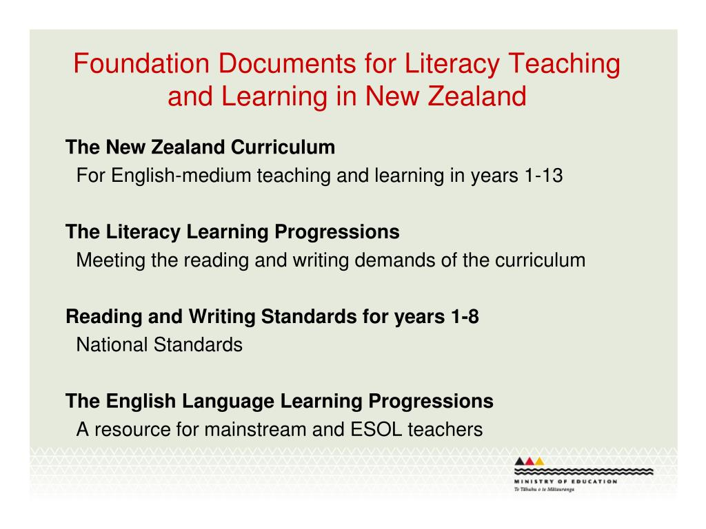 Foundation Documents for Literacy Teaching and Learning in New Zealand