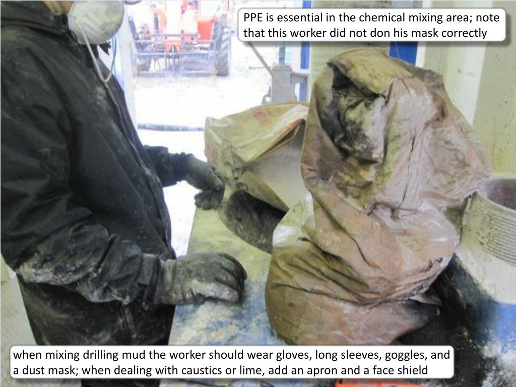 PPE is essential in the chemical mixing area; note that this worker did not don his mask correctly