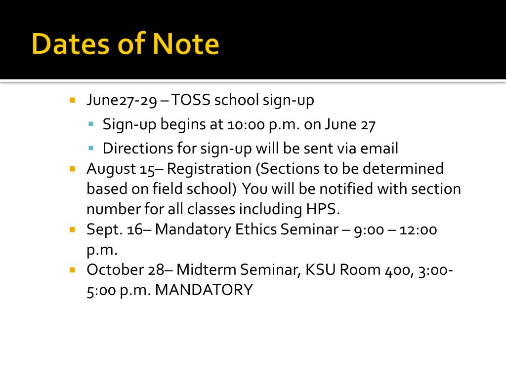 Dates of Note