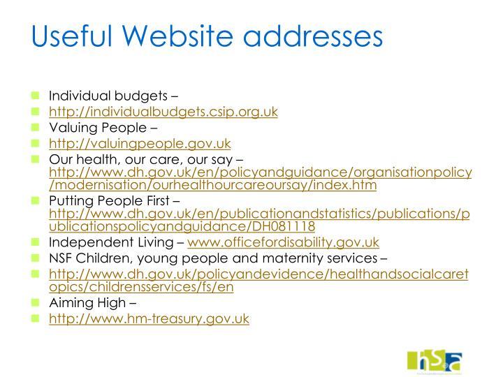 Useful Website addresses