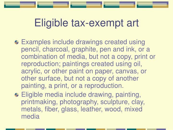 Eligible tax-exempt art