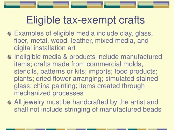 Eligible tax-exempt crafts
