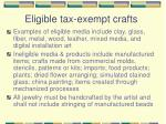 eligible tax exempt crafts