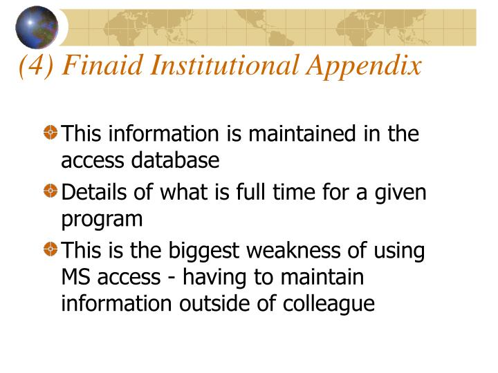 (4) Finaid Institutional Appendix
