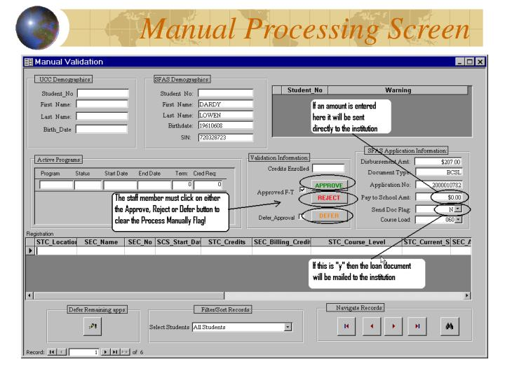 Manual Processing Screen