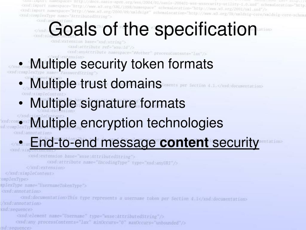 Goals of the specification