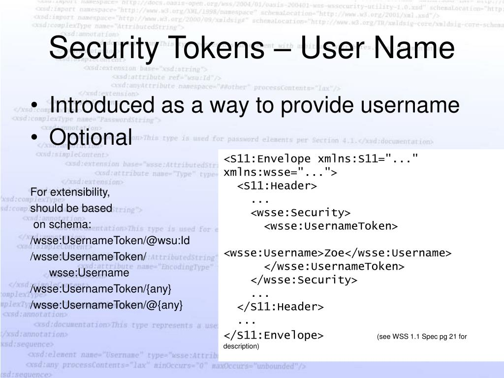 Security Tokens – User Name
