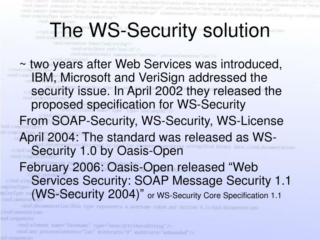 The WS-Security solution