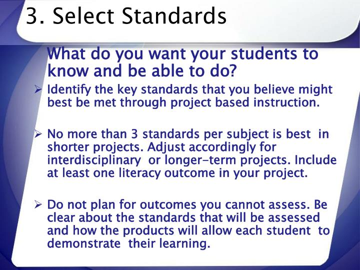 3. Select Standards