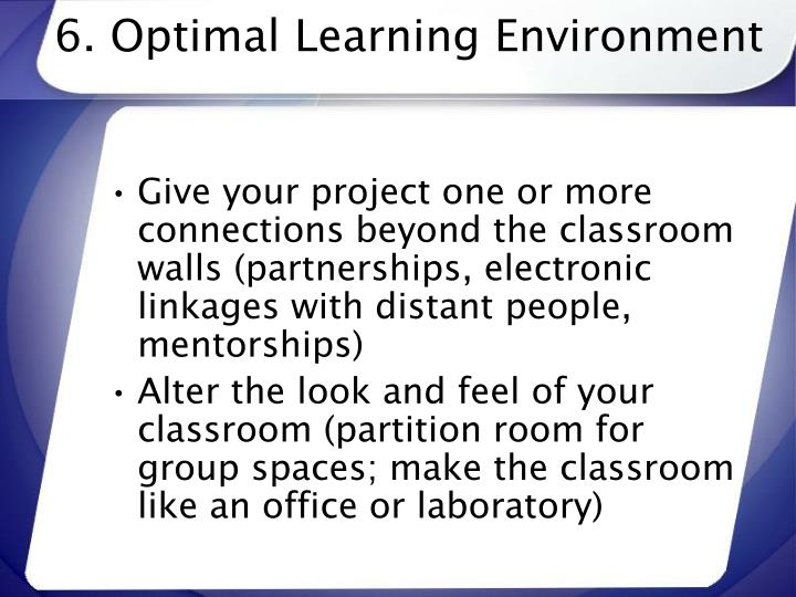 6. Optimal Learning Environment