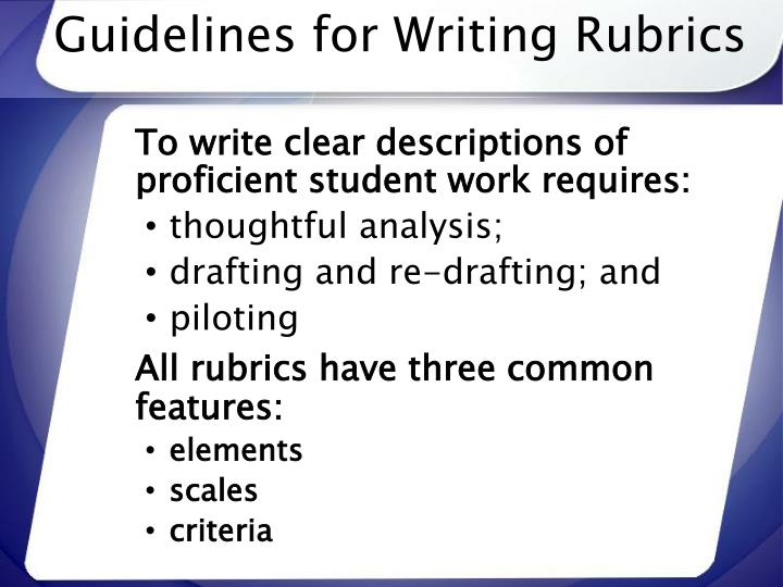 Guidelines for Writing Rubrics