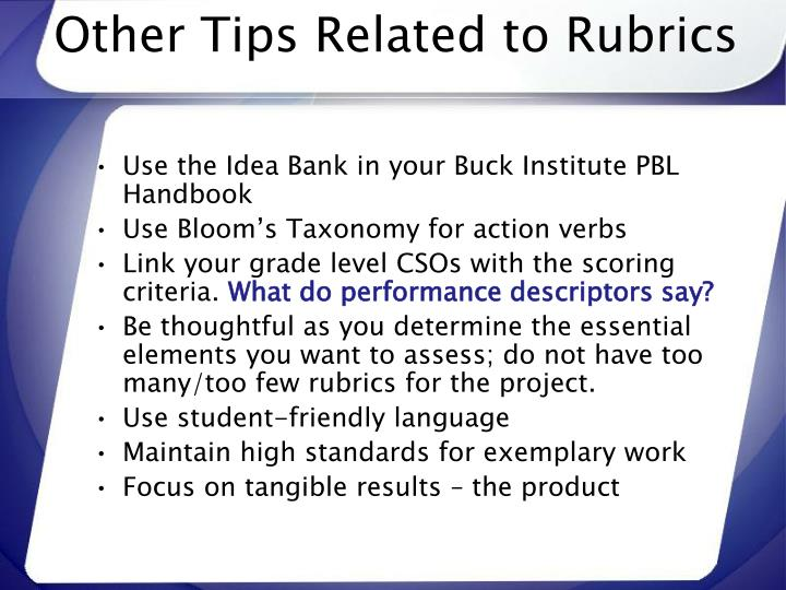 Other Tips Related to Rubrics