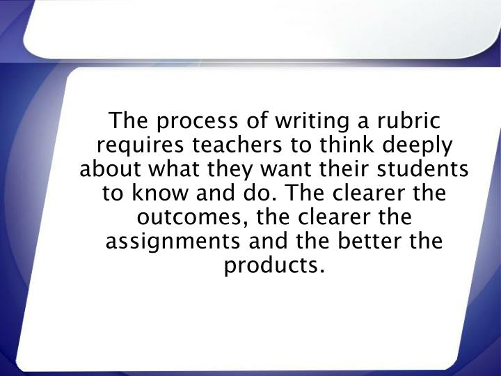 The process of writing a rubric requires teachers to think deeply about what they want their students to know and do. The clearer the outcomes, the clearer the assignments and the better the products.