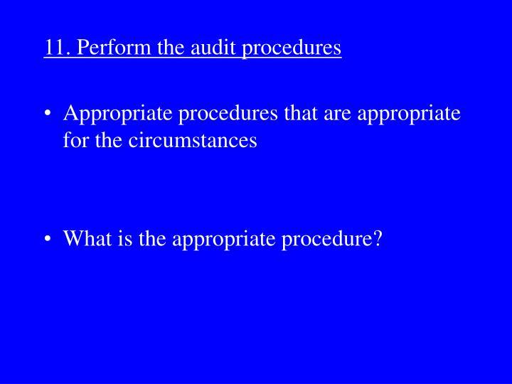11. Perform the audit procedures