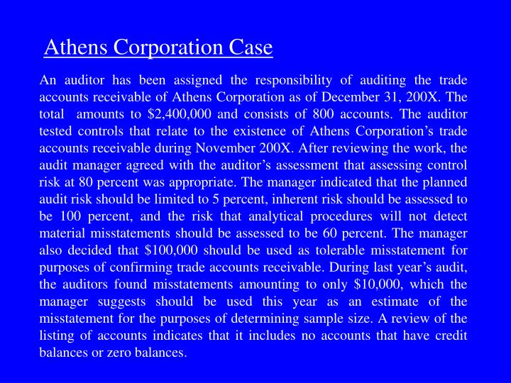An auditor has been assigned the responsibility of auditing the trade accounts receivable of Athens ...