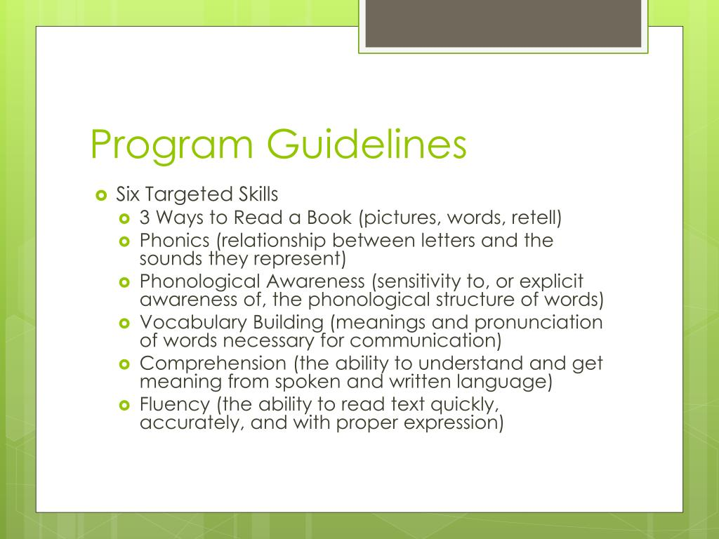 Program Guidelines