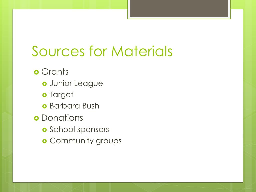 Sources for Materials