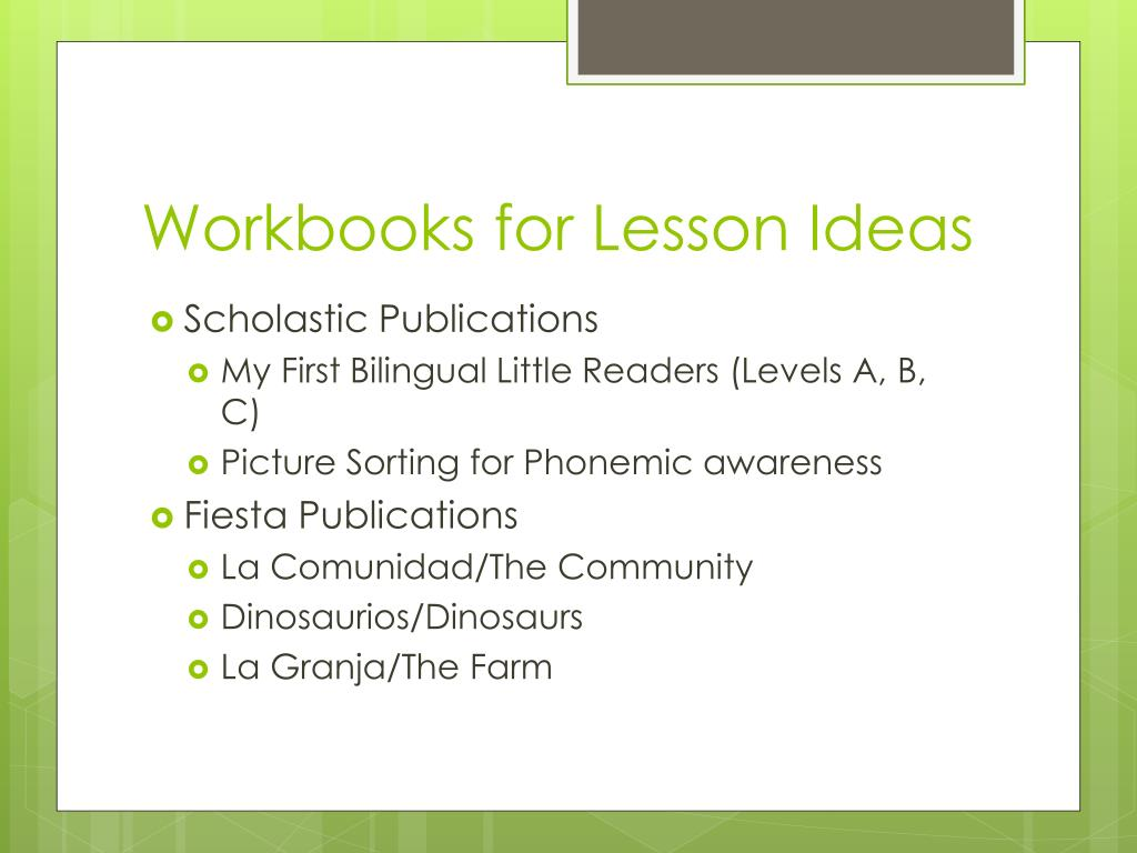 Workbooks for Lesson Ideas