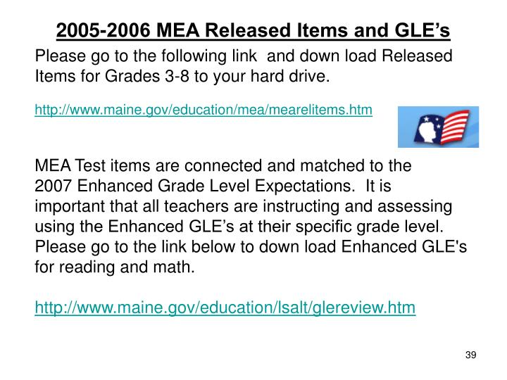 2005-2006 MEA Released Items and GLE's