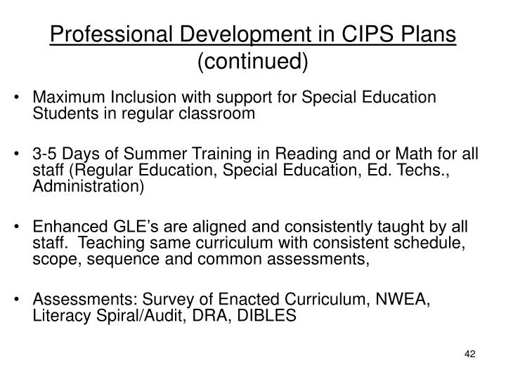 Professional Development in CIPS Plans