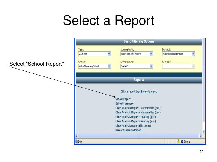 Select a Report