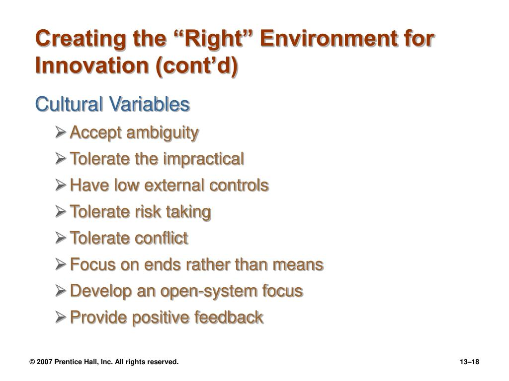 """Creating the """"Right"""" Environment for Innovation (cont'd)"""