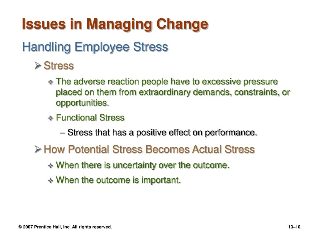 Issues in Managing Change