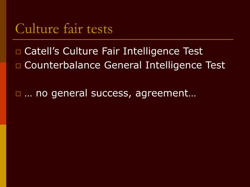 Culture fair tests