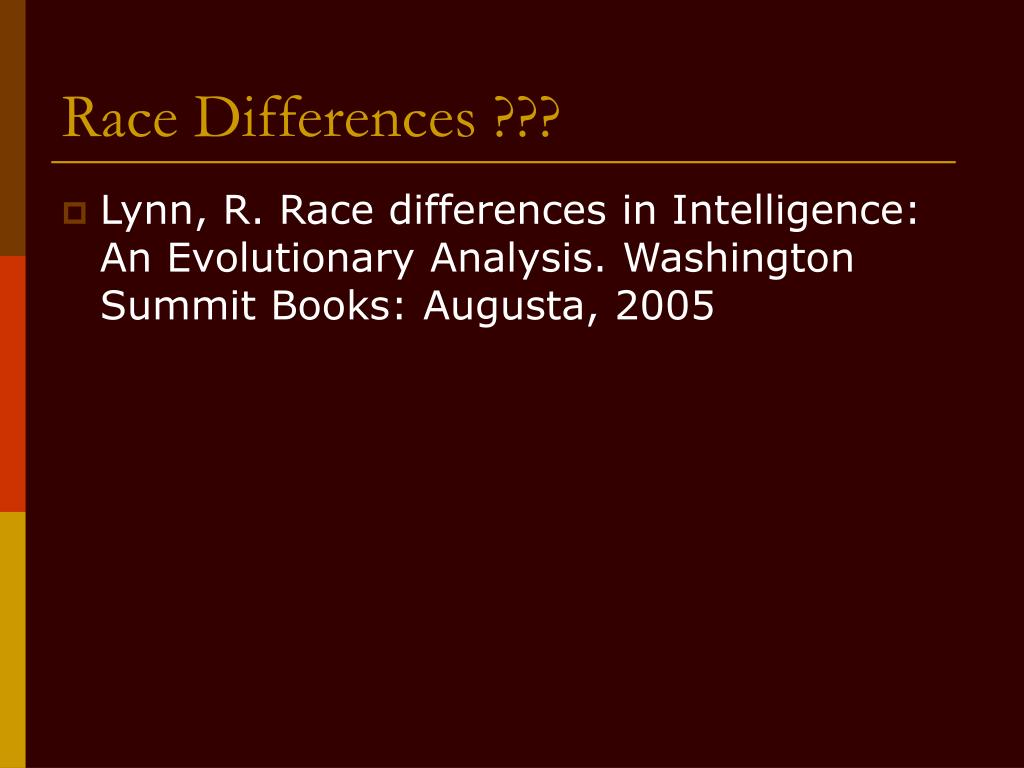 Race Differences ???