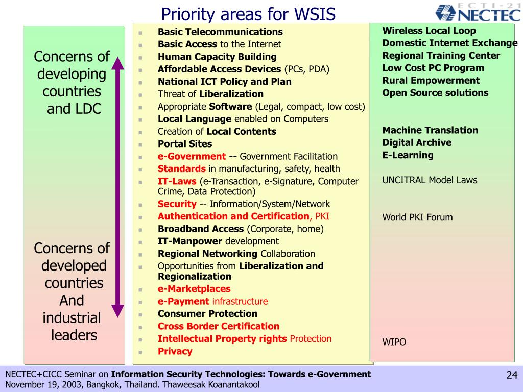 Priority areas for WSIS