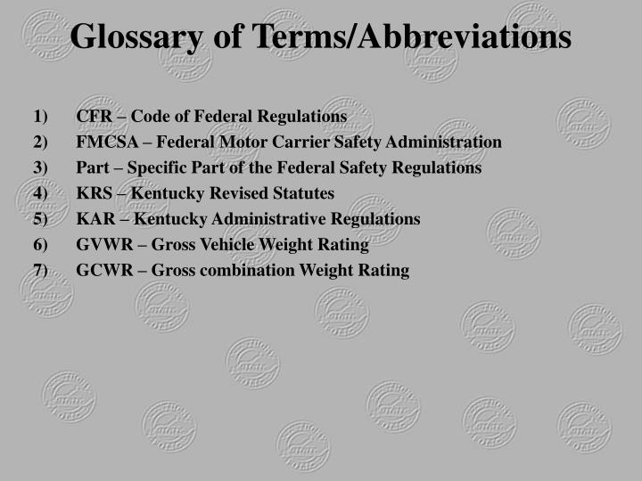 Glossary of Terms/Abbreviations