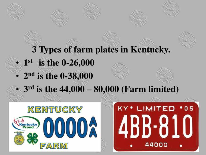 3 Types of farm plates in Kentucky.