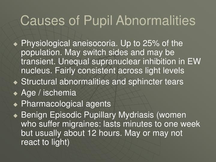 Causes of Pupil Abnormalities