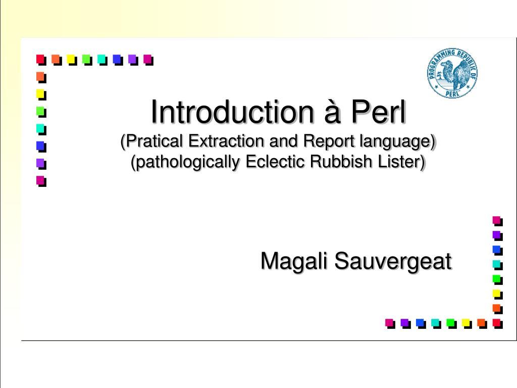 Introduction à Perl