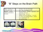 b steps on the brain path