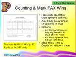 counting mark pax wins